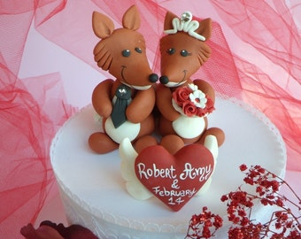 Fox wedding cake topper, custom cake topper, bride and groom figurines, heart banner, personalized hand made cake topper