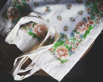 Vintage Hankie Tote Bag, Cottage Chic Market Bag, Floral Book Tote, Cotton Tote Bag, Eco Friendly Accessories for Her