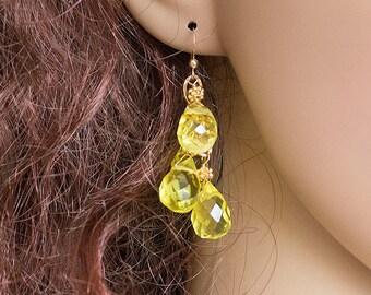 Lemon Earrings, Yellow Lemon Earrings, Lemon Quartz Earrings, Dangle Earrings, Gold Earrings, Cascade Earrings, Handmade Earrings