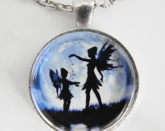 FAIRY GIRLS Necklace, Little fairy being showered with magic, Friendship token, Two fairies and the full moon, Sisters, Mother & child