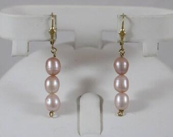 14k Yellow Gold 7x6mm Rose Pearl Dangle Lever Back Earrings 3.8g