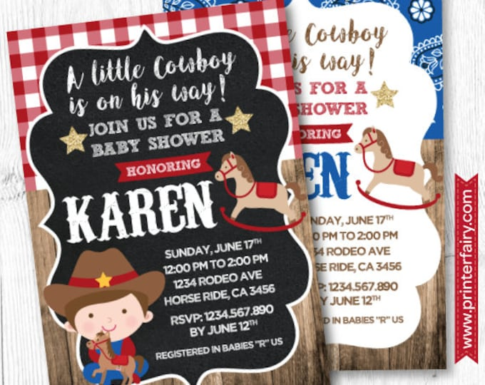 Cowboy Baby Shower Invitation, Horse Baby Shower, Pony Baby Shower Invitation, Boy Baby Shower Invitation, DIGITAL, 2 Options
