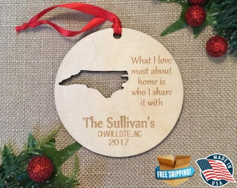 Personalized North Carolina Ornaments ** Home Ornament ** Family Gift *** Stocking Stuffer ** Personalized ** Christmas Holiday Ornament ***