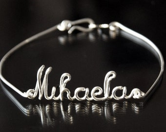 Personalized Name Bracelet, Bangle Bracelet, Silver Plated, Customizable, Wire Name, Wire Word, Custom Made