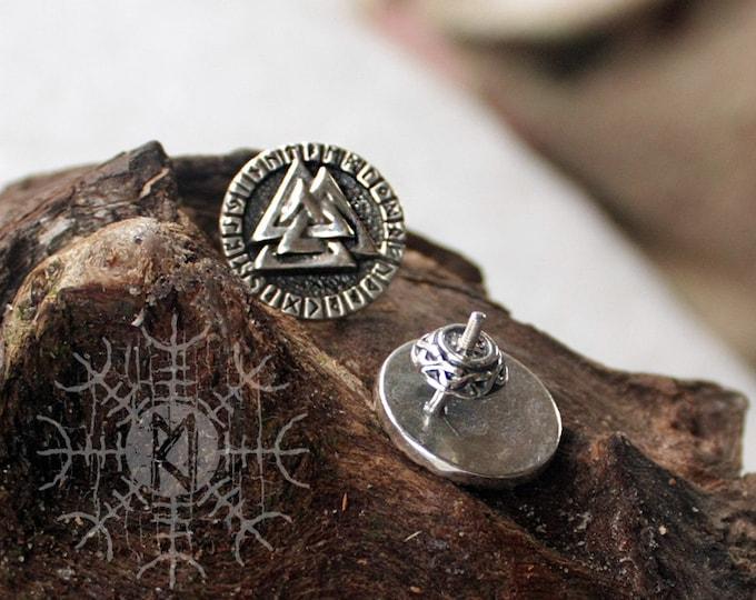 NEW ITEM! ~ Sterling 925 Silver Valknut Futhark Runes Odin Nordic Amulet Earring