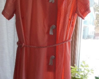 Vintage knit house dress - no tags - possibly medium - peach colored