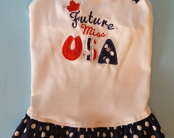 Patriotic Dog Embroidered Dress, 4th of July Dog Embroidered Dress, Patriotic Puppy Embroidered Dress, 4th of July Embroidered Dress