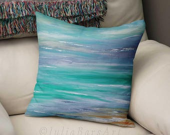 Turquoise Pillow Cover, Abstract Beach Pillows, Lumbar Pillow, Rectangular Pillow, Aqua Blue Gray, Cushions, Accent Pillow, Ocean Art Pillow