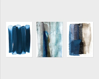 Blue & Brown Wall Art - Set of 3 Prints - Abstract Watercolor Painting Prints - Scandinavian Prints - Prints on Paper or Download
