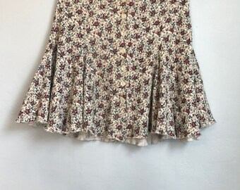 Ribbed Rose Flouncy Button up Skirt