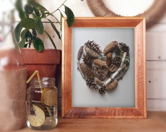 heart shaped art, photography print, woodland love, pine cones, birch tree branch, rustic love, nursery art, cabin home decor, forest floor