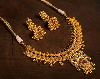 Sivahaami statement Temple Necklace | Indian Jewelry | Indian Necklace