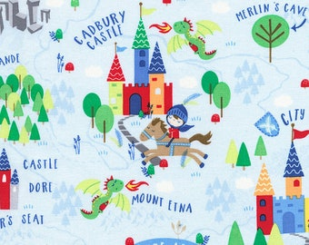 Knights and Castles Scenic from Timeless Treasure's Knight in Shining Armor Collection , 1 yard