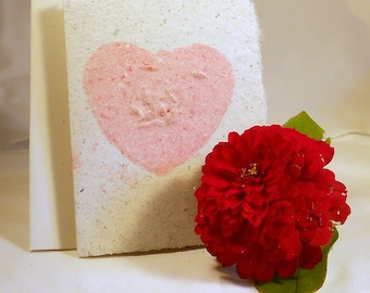 Single Hand Made Recycled School Paper Floral Seed Card--Zinnia
