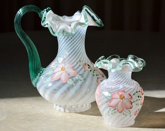 Fenton Meadow Beauty pitcher and vase, white Optic Swirl with Sea Mist Green rim & handle, beaded drape, handpainted, signed Jane Reynolds