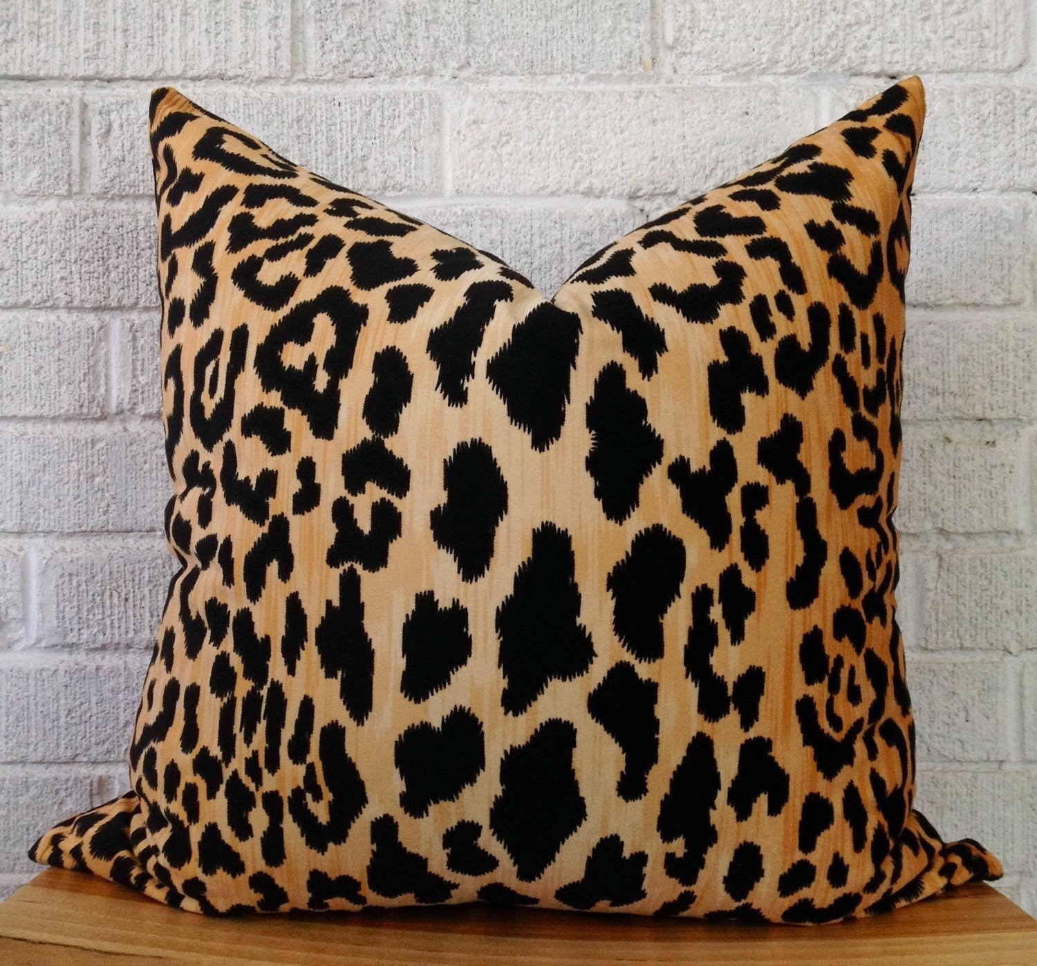 Velvet Cheetah Pillow Cover Square leopard black gold animal