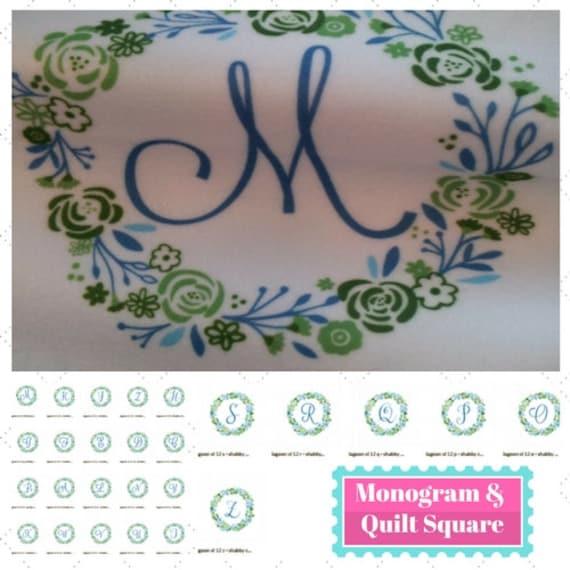 In Stock Monogram Initial Quilt Square Fabric - 8x8  Monogram Initial Shabby Chic Wreath - Lagoon | Designer Fabric | Kona, Fleece