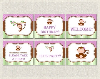 Printable Birthday Party Signs Welcome Monkey Polka Dots Green 1st 2nd 3rd Purple Girls IV-2