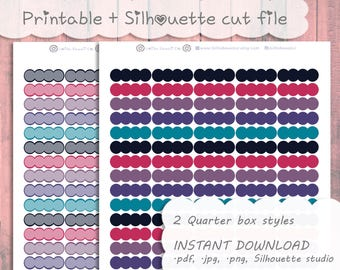 Printable Kawaii Scalloped Quarter Boxes ~ Galaxy Colors || Sized for: The happy planner, Mini Happy Planner, Personal Planner
