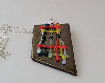 Fused glass necklace handmade