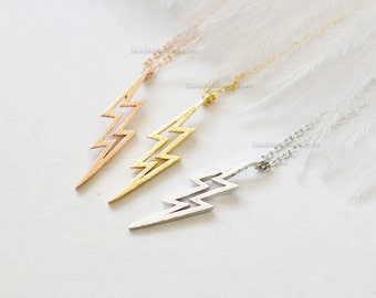 lightning bolt necklace, thunder bolt necklace, lightning necklace, bolt necklace, dainty, simple necklace, birthday, wedding gifts