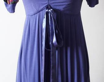 Boho chic purple ruffled romantic Made in Italy 90s vintage floral dress chiffon satin front bow stretch soft viscosa fabric mint size S