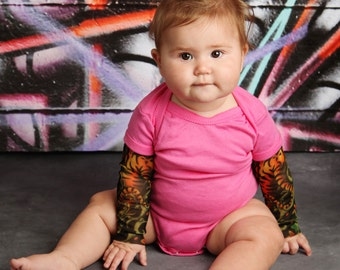 Pink Bodysuit Baby Tiger Tattoo Sleeve Shirt for Babies