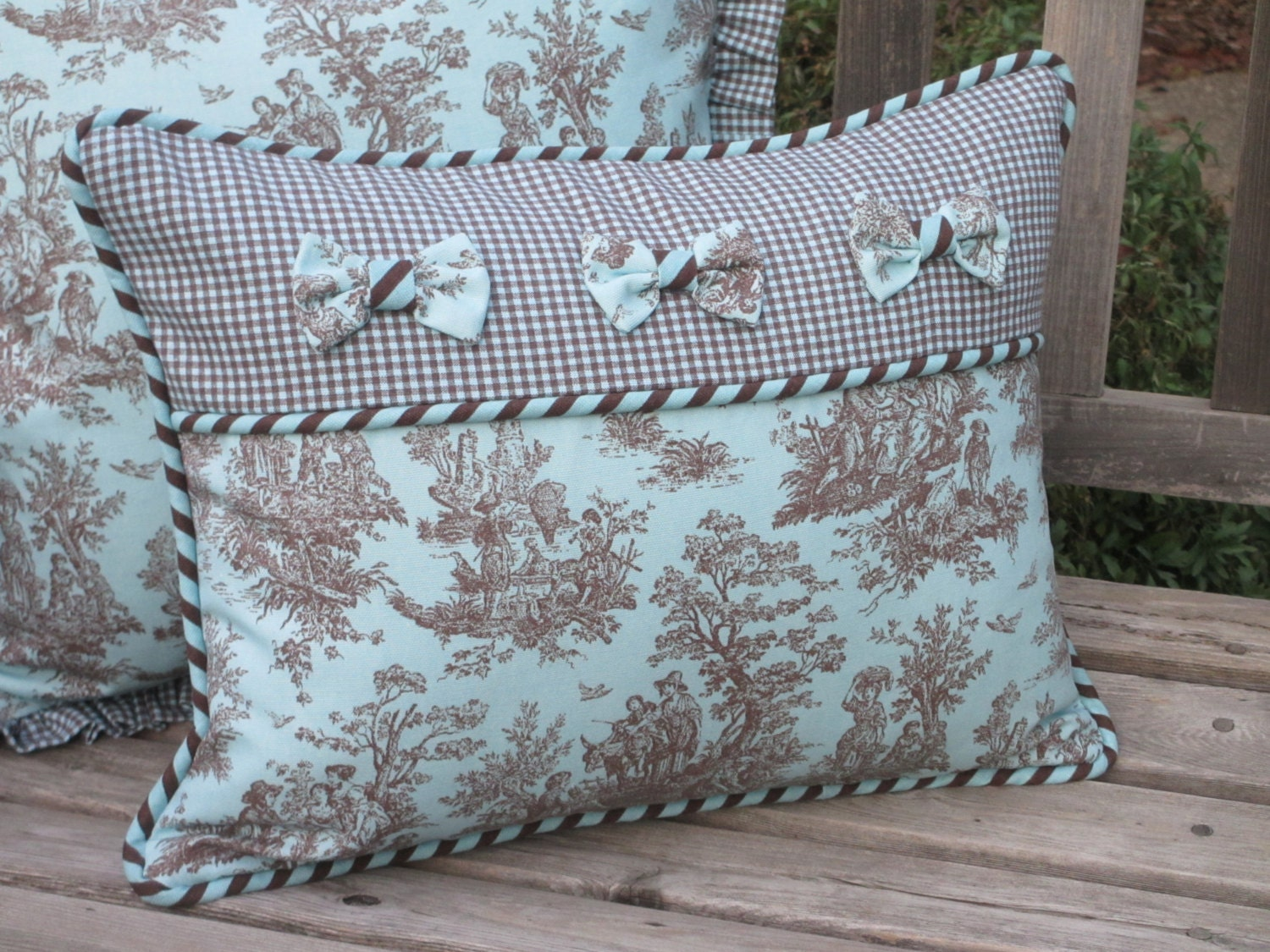 Toile Pillow Cover Deluxe French Country Aqua Turquoise