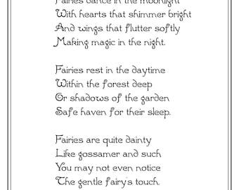 Tanz der Feen im Mondschein, schwarz und weiß, 8 x 10, Original-Märchen-Gedicht, DIY druckbare, Instant Download
