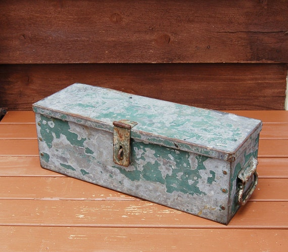 & Heavy Strong Box Industrial Metal Storage Box Old Galvanized
