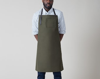 "Dahls"" 10.10oz water repellent olive duck canvas apron. Leather straps Handmade in Montreal"