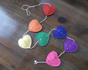 Felt rainbow heart door hanger handmade