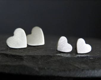 Heart stud earrings / surgical steel studs / hypoallergenic earrings / small studs / stainless steel studs
