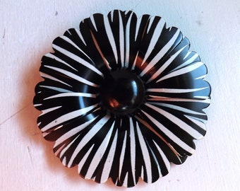Vintage enamel flower brooch or pin striped two tone layered dimensional  mod 1960s black and white