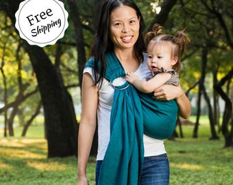 Bibetts Pure Linen Ring Sling Baby Carrier 'Teal' - CPSIA compliant - Infant ,