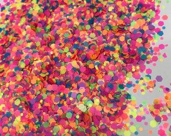 RAINBOW circles dot glitter paper new