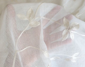 Sheer Embroidered Curtain Fabric with Vine Leaf Print in Ivory