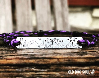Braided Custom Hand Stamped Bracelet, friendship bracelet, Custom Name Jewelry, Quote Bracelet,Gift Idea, explore, mountains Waxed Polyester
