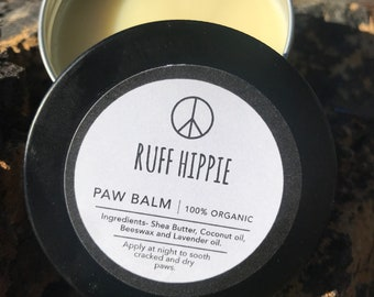 Ruff Hippie Paw Balm, Organic Dog Care, Summer Balm for Pups Paws, Dog Gift.