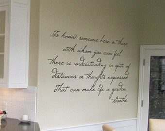 Goethe - Life is a Garden - Wall Quotes and Wall Decals - Your Choice of Color