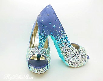 Purple and Aqua Bling peep toe high heels ~ Wedding, Bridesmaid, Maid of honour, Birthday, Gift for her, Party, Sweet 16, Prom, Pageant