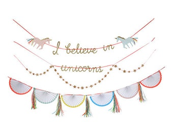 Unicorn Garland, I Believe in Unicorns Banner