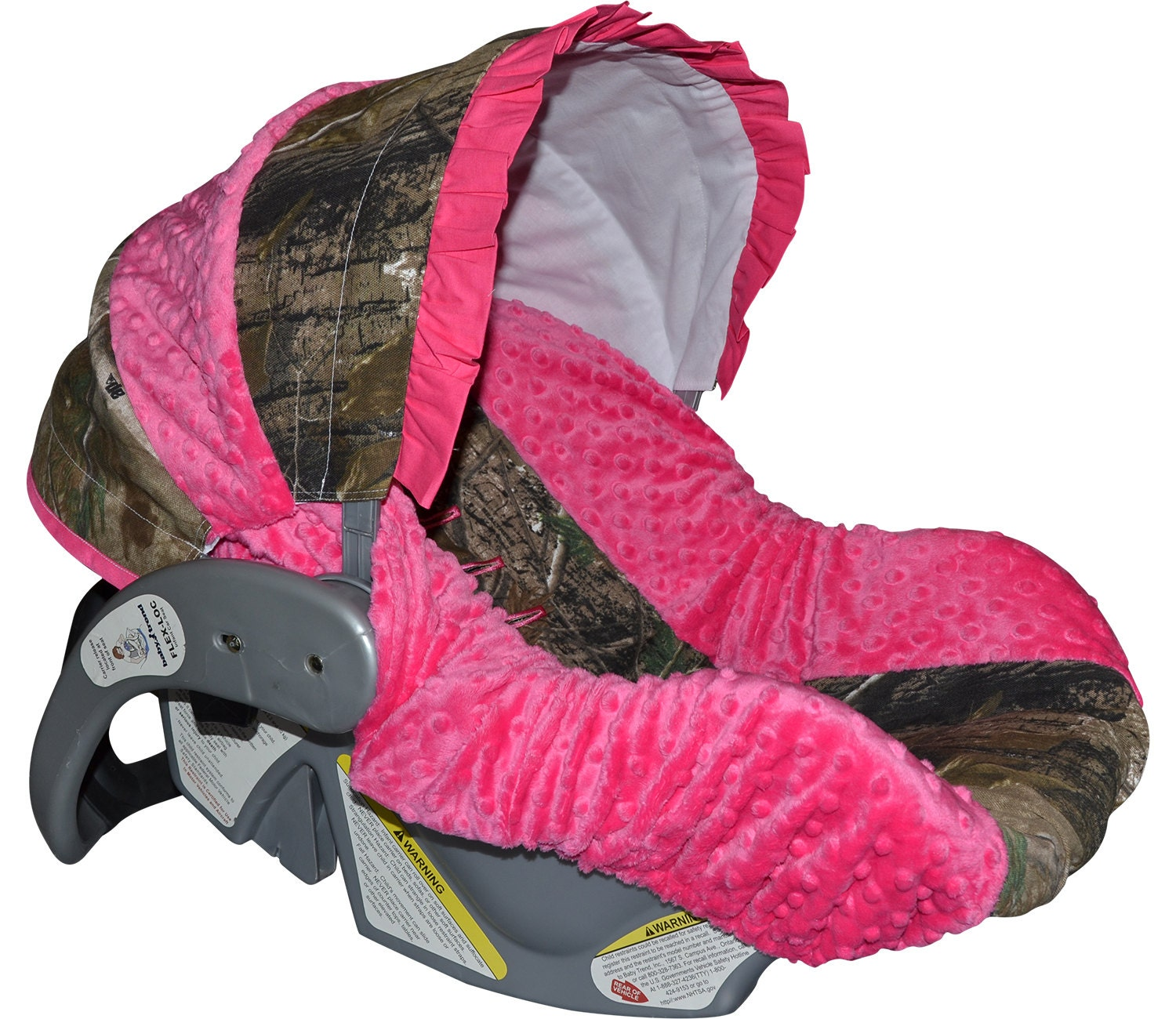 Custom Hunting Camo And Pink Infant Car Seat Cover