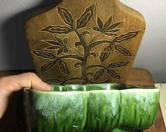"Vintage UPCO Green Planter Ungemach Pottery No. 105-7 , 4 3/4"" ""x 7 1/4""x 2 3/4"" , Drip Glaze,  Cactus Bonsai Succulents, American Pottery"