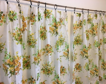 "vintage white curtains, gold and green florals, vintage curtain pair, 37"" by 44"""