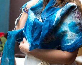 Nuno Felted scarf felt shawl felt scarf merino wool silk dark blue turquoise felt spring scarf