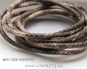 Gray leather cord 4mm Grey round leather cord Imitation snakeskin cord Leather string 4 mm Leather lace Leather string GRAYSN4
