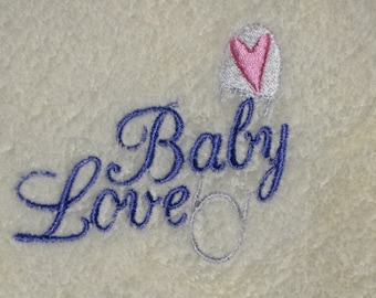 Embroidered Baby Blanket Baby Love PALE YELLOW Blanket with Heart Safety Pin - Ready to Ship