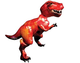 "Giant 68""  Air Walker T-Rex Dinosaur Foil Mylar Balloon Birthday party decor ""Same Day Shipping"""