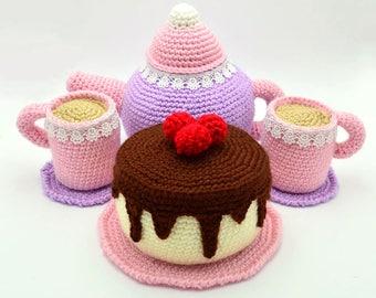 Amigurumi Tea Set and Cake Crochet Pattern, Crochet Food Pattern Crochet Toy Pattern Crochet Cake Pattern, Amigurumi Food Pattern Play Food